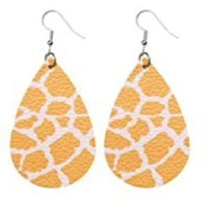 BOGO Yellow & White Faux Leather Earrings